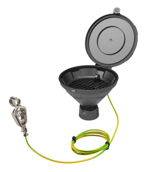 """Deckeltrichter """"MARCO"""", V2.0, GL45, PE-HD elektrisch ableitfähig, mit herausnehmbarem Sieb"""